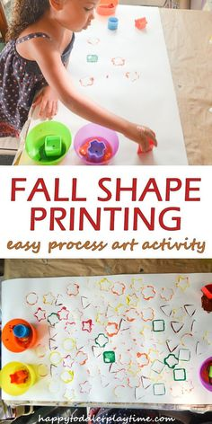 Fall Shape Painting - HAPPY TODDLER PLAYTIME Celebrate all the colours of autumn with this fun and easy process art activity painting using different shapes! Shapes For Toddlers, Art Activities For Toddlers, Color Activities, Autumn Activities, Infant Activities, Art For Toddlers, Colors For Toddlers, Indoor Activities, Toddler Art
