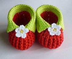 (4) Name: 'Crocheting : Baby strawberry booties