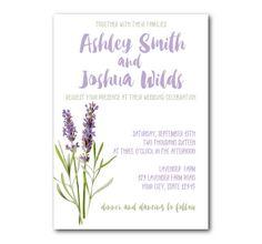 Lavender Wedding Invitation Botanical by SweetInviteShoppe on Etsy