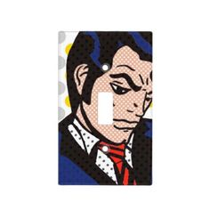 Rock and Roll Man Pop Art Light Switch Cover--Even with his solemn disposition, he'll brighten the day of any 50's music lover, pop art fan, or comic book collector. Get it? He'll brighten the day. He's a light switch cover. Hehehe! #Decor #Decorating #PopArt #Comics #50s #Zazzle