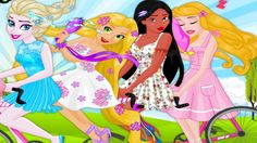 In Disney Princesses Tandem, Elsa, Rapunzel, Pocahontas and Sleeping Beauty have decided to spend it in style - they are going to rent a tandem bicycle and ride thought the great fantasy land! Elsa was chosen to drive the funky bike but the fun cannot begin before the girls get their outfits perfectly mixed and matched and accessorized. Would you like to help them out? Have fun playing with Disney Princess!