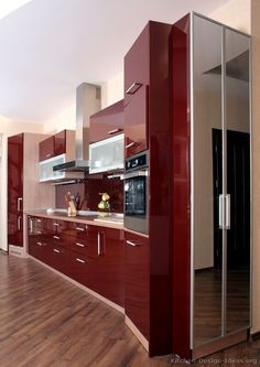 Modern Red Kitchen Cabinets #02 (Kitchen-Design-Ideas.org)