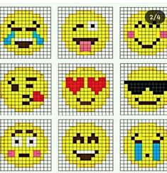 Crochet Emoji Graphgan (Repeat Crafter Me) Are you or your kids Emoji-obssessed? It's hard not to love those cute little faces and icons that give your texts and social media posts a little pizzazz! I created 9 Emoji Crochet (corner-to-cor Fuse Bead Patterns, Perler Patterns, Beading Patterns, Cross Stitch Patterns, Jewelry Patterns, Embroidery Patterns, Jewelry Ideas, Perler Bead Designs, Hama Beads Design