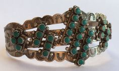 Vintage Pawn Fred Harvey Era Sterling Silver Turquoise Petit Point Cuff Bracelet #Unbranded