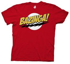 The Big Bang Theory 'Bazinga! The Big Bang Theory 'Bazinga! This funny tee gets as many laughs as the show it was inspired by. Soft cotton construction and a classic cut keep the fit comfy and cozy all day. Cool T Shirts, Funny Shirts, Tee Shirts, Big Bang Theory Shirts, Slogan, Mode Geek, Branded T Shirts, Mens Tees, Hoodies