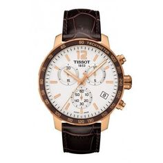 Tissot Quickster Men's Quartz Chronograph Silver Dial Watch with Brown Leather Strap