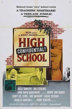 Russ Tamblyn and Mamie Van Doren in High School Confidential! Old Movies, Vintage Movies, John Drew Barrymore, Don Gordon, Russ Tamblyn, Mamie Van Doren, Jerry Lee Lewis, Michael Landon, Beatnik