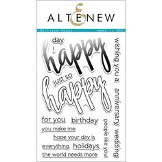 Altenew HALFTONE HAPPY Clear Stamp Set AN185