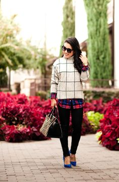 How to layer your outfit #turtleneck #plaid