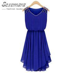 2017 Summer Sundress Sleeveless Dress Vestido Chiffon V Neck Diamonds Blue Casual Pleated Sexy Work Office Dresses Plus Big Size #Affiliate