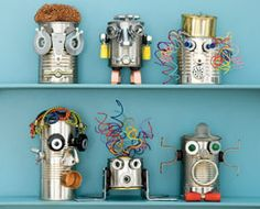 Recycle your cans, trinkets, and knick-knacks and craft these cool robots.