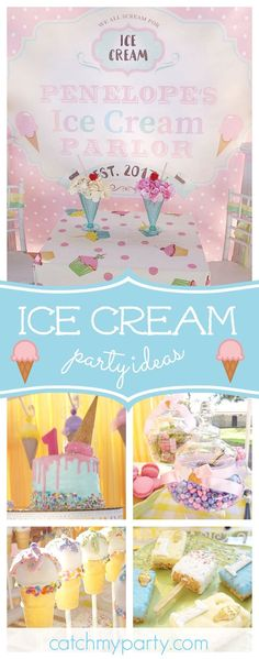 Don't miss this colorful ice cream birthday party! The ice cream cone cupcakes are fantastic!! See more party ideas and share yours at CatchMyParty.com #catchmyparty #partyideas #1stbirthdayparty #icecream