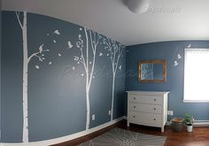 Birch Trees Wall Decal Fying Birds Stickers Nursery Tree Wall Murals - Three Big Birch Tree Decal - Large Size Vinyl Tree Decal Custom Decal