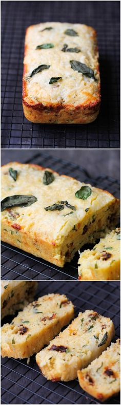 Corn Bread with Sun-Dried Tomatoes, Basil, and Cheese – delicious, fluffy, and easy recipe that everyone will enjoy as a side or by itself! Basil Recipes, Cheese Recipes, Bread Recipes, Cooking Recipes, Cheese Food, Corn Flour Recipes, Cooking Tips, Fingers Food, Le Diner