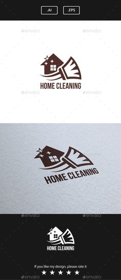 Home Cleaning Logo Design Template Vector #logotype Download it here: http://graphicriver.net/item/home-cleaning/15097353?s_rank=1732?ref=nexion