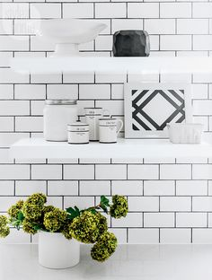 black and white kitchen - great shelf styling