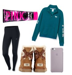 A fashion look from December 2015 featuring Victoria's Secret PINK, NIKE and UGG. Browse and shop related looks. Sporty Outfits, Pink Outfits, Dope Outfits, Outfits For Teens, School Outfits, School Fashion, Daily Fashion, Teen Fashion, Fashion Outfits