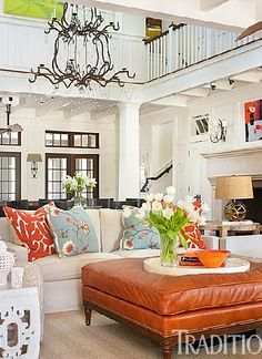 """Living room...has everyone simply duplicated their summer homes based on the set from the movie  """"Something's Got to Give""""?  This looks just like it."""