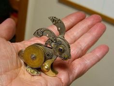Upcycled Steampunk Artwork. Clockwork bunny.