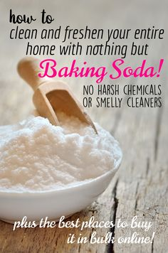 How to clean and freshen practically your entire home with nothing but Baking Soda! Get rid of the harsh chemicals and smelly cleaners. Plus: THE BEST PLACES TO BUY IT IN BULK ONLINE.