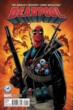 Deadpool #1 variant cover by Mike Hawhthorne This helps me think about the types of weapons my character could have and how I can show them. the colours are vibrant and really draw you in to have a closer look at this cover.
