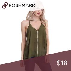 Olive Zip Up Strappy Tank Trendy and edgy olive colored spaghetti strap tank featuring full front zip up and choker neckline. Perfect for date night, girls night out or a walk in the city! Pair it with a black leather jacket or throw on some jeans and stilettos!   💗BRAND NEW BOUTIQUE WITHOUT TAGS 💗PRICE IS FIRM 💗NO TRADES 💗BUNDLE & SAVE 20% Tops