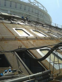 Harmony of the Seas getting painted and windows added