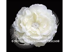 Crystal Rhinestone Ivory Ellabelle Peony Flower & Feather Hair Clip