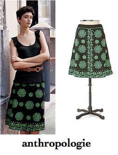 83242694072 ANTHROPOLOGIE Lithe Black   Green Floral Medallion Embroidered CIGARRO  Skirt 4  Lithe  ALine