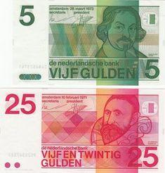 Nederland - Bankbiljetten 5 gulden 1973 en 25 gulden 1971