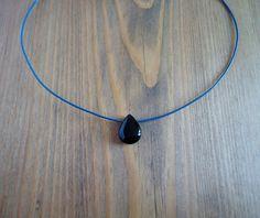 Black onyx leather choker necklace gemstone beaded by BakGuri