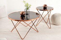 Stylowy stolik kawowy miedź czarne szkło 55cm Pont