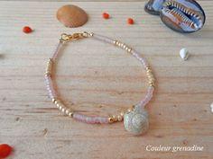Bracelet minimaliste perles de rocailles coquillage : Bracelet par couleur-grenadine33