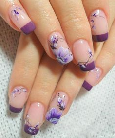 Simple Flower Nail Art Designs are a few of the most revered suggestions for nail art as the various colours and designs of flower nails. Fancy Nails, Trendy Nails, Cute Nails, Classy Nails, Nail Designs 2015, Flower Nail Designs, Purple Nail Art, Floral Nail Art, French Tip Nails