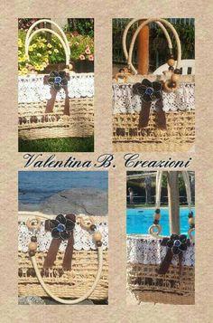 Borsa di paglia decorata con pizzo antico all' uncinetto, nastro e fiore Nespresso by Valentina B. Creazioni