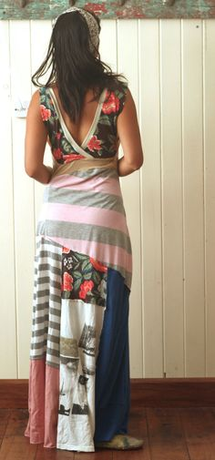 Upcycled tee shirt maxi dress