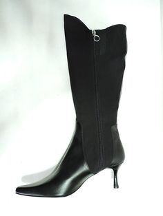 Donald J Pliner Women's Luzca ,Black Leather and Stretch Material 3' Heels Knee High Boot,7 Narrow, AA Us ** Learn more by visiting the image link.