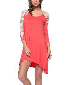 Another great find on #zulily! Coral Lace Shift Dress by Mittoshop #zulilyfinds