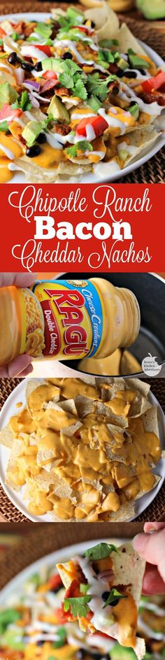 Chipotle Ranch Bacon Cheddar Nachos | by Renee's Kitchen Adventures - A fun and easy recipe for cheesy nachos great for entertaining or a fun family meal! A bacon and cheddar lovers treat! #simmeredintradition