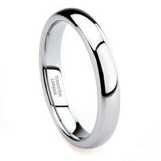 Pinterest Wedding   Tungsten Carbide 4MM Plain Dome Wedding Band Ring Ring Size 4 12
