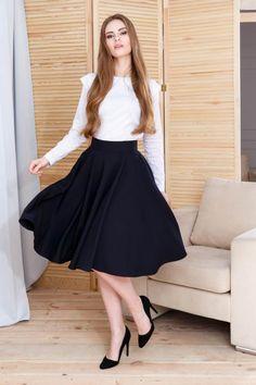 Fusta clos midi neagra Waist Skirt, Midi Skirt, High Waisted Skirt, Fancy, Fashion, Moda, Midi Skirts, High Waist Skirt