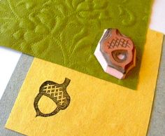 Acorn hand carved rubber stamp