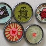 Make Recycled Juice Lid Magnets...cute idea, with all the neat scrap paper now a days.....gotta do...