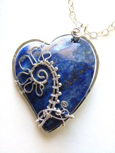 Blooming Love Lapis Heart Silver Wire Wrapped by glsjewelry