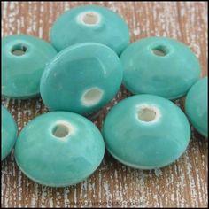 12mm Ceramic Glazed Saucer Beads - Turquoise