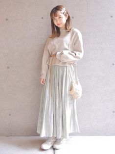 春色スカート🌿 Waist Skirt, High Waisted Skirt, Skirts, How To Wear, Fashion, Moda, High Waist Skirt, Fashion Styles, Skirt