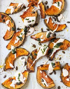 Roasted pumpkin with chili yogurt and coriander. Get this and more delicious pumpkin recipes to make this fall.