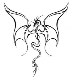 Simple-Flying-Dragon-Tattoo-Design-Make-On-Paper.jpg (630×673)