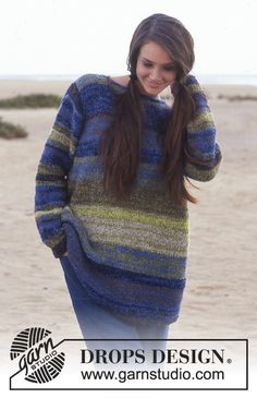 DROPS Sweater with stripes in Cotton Frisé.