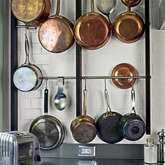 Wall-Mounted Pot Rack    Make it out of plumbing pipes